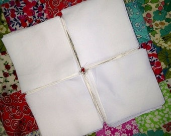 100 Die cut 2.5 inch fabric squares - fine white Egyptian cotton percale