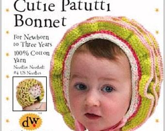 Knitting Pattern/PDF/Hand Knitting baby bonnet/Debby Ware pattern/cotton bonnet/Baby bonnet/Newborn hat/ Newborn bonnet/knitting