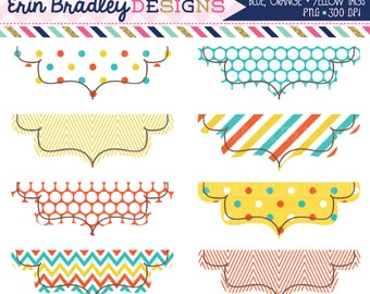 50% OFF SALE Digital Clipart Labels in Orange Blue & Yellow Instant Download Clipart Graphics
