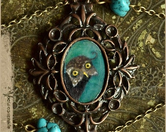Owl and turquoise bracelet - illustrated jewelry