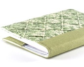Fabric Journal Cover - Flowers and Pearls - A6 Notebook, Diary - Green Floral Journal Cover With Pearls - OOAK