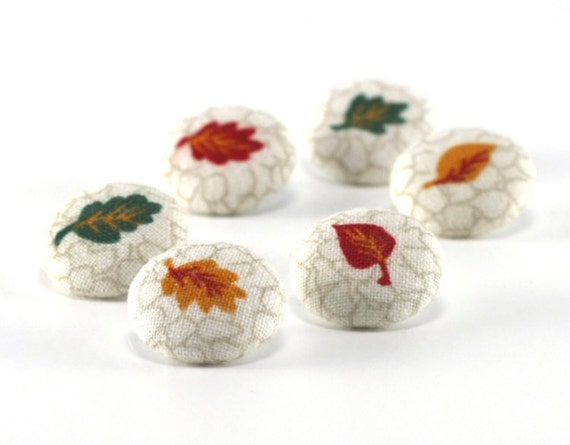Fabric Buttons, Falling Leaves, 6 Small Autumn, Fabric Covered Buttons, Terracotta, Green, Yellow, Mustard, Fabric Buttons, Sewing Clothing