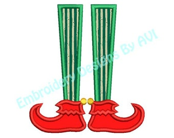 Applique Santa Elf Feet Christmas Embroidery Designs 4x4 & 5x7 Instant Download Sale