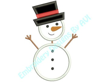 Applique Stick Snowman Snow Man Christmas Machine Embroidery Designs 4x4 & 5x7 Instant Download Sale