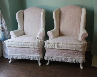 shabby chic wingback chair pair pink white vintage matelasse bedspread cottage wing back custom order