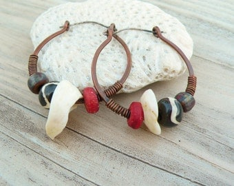 Primitive Tribal Hoop Earrings - Copper Hoops, Sterling Ear Wires, Bold Natural Elements