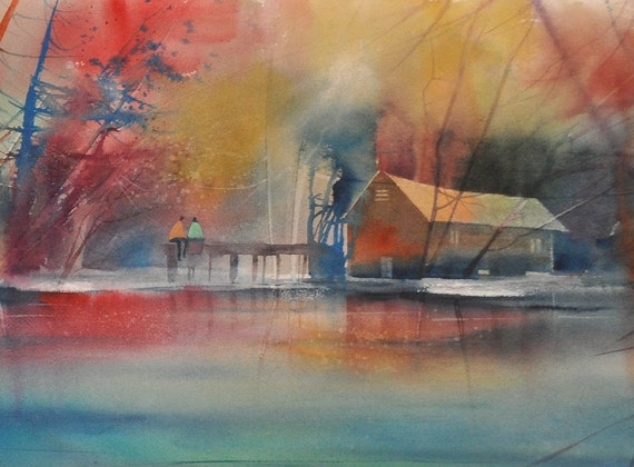 Lake Love Watercolor Painting Lake House Decor Lake By