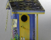 Blue and Gold Bird House , Handmade , Hand Painted , Colorful and Lots of Extras