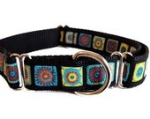"""Colorful Squares Dog Collar 1"""" Large Dog Collar - Buckle or Martingale Style"""