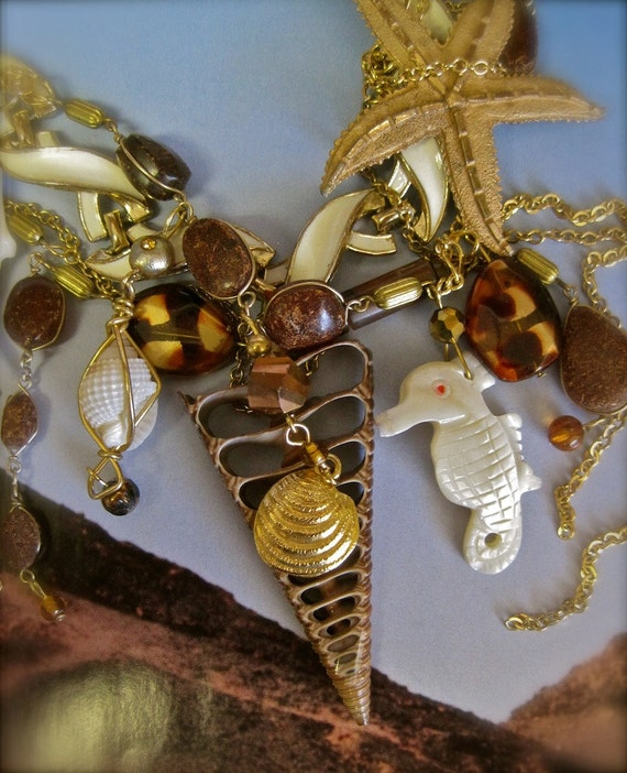 ON HOLD Beautiful Flotsam:  Sea Shells Seahorse Starfish Vintage Assemblage Necklace Runway Statement  Mother of Pearl MERMAID Wedding