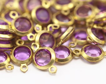 20 Purple Lucite With Brass Frame Circle Caged Connectors 13x7.5 Mm L131  F012