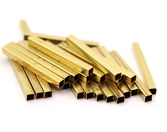 24 Square Raw Brass Tubes  (30x3x3mm) Sq02  BRC285