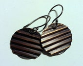 Corrugated Copper Disc Earrings