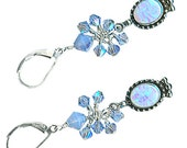 statement earrings lab grown sapphire sky blue opal crystal cluster drop sterling silver