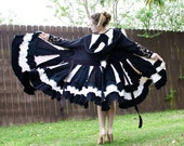 Sale- Recycled Black and White Sweater Coat with a Medieval Liripipe Hood by SnugglePants- READY TO SHIP
