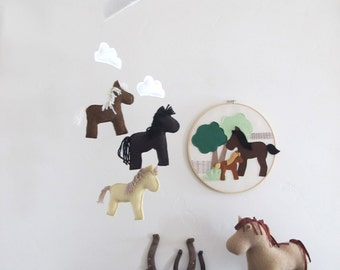 Pony Baby Mobile -  Nursery, Decor, Mobile, Clouds, Horse, Baby, Room, Boy, Neutral