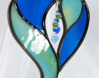 Two Hearts in One by the Sea  - Aqua and Blue Stained Glass Suncatcher with Swarovski Crystals