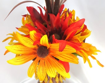 Small Desktop Autumn Fall Beaded Floral Arrangement in Red, Orange and Gold Tones