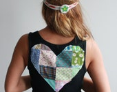 MADE TO ORDER Any Size Black Or Gray Patchwork Heart Cut Out Back Tank Top By MountainGirlClothing
