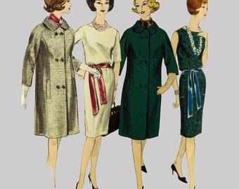1960s One piece dress and coat pattern Vogue Paris Original 1088 Guy Laroche Raglan Sleeve coat, princess seaming, Size 16 Bust 36