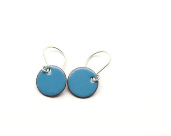 Blue Enamel Earrings - Blue Earrings - Small Earrings / Candies