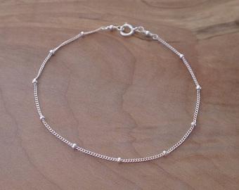 Sterling Silver Chain Bracelet, Silver Satellite Chain Bracelet, Silver Beaded Chain Bracelet, Silver Delicate Chain Everyday Bracelet