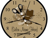 Beauty Shop, Beauty Salon, Hair Stylist , Hairdresser Personalized Brown Business 9 In Wall Decor Clock.