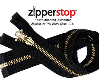 3 Inch to 36 Inch  Brass Jacket Zipper YKK Number 7 Heavy Duty Metal Separating, Zippers wholesale (Options Length)