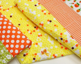"""baby quilt- honeybees, strawberries, polka dots and gingham """"bzzz..."""" READY TO SHIP"""