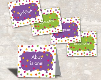 Polka Dot Birthday Party Food Labels (set of 8) PRINT & SHIP >> personalized and shipped to you | Paper and Cake