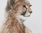 painting cheetah painting cheetah PRINT cheetah art print watercolor Painting nursery art print safari home decor africa boy wall art 11x14