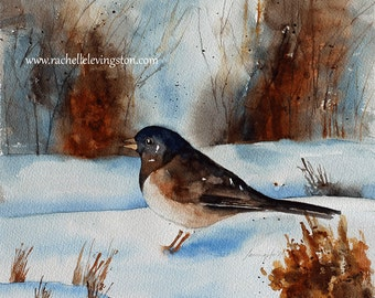Winter room decor Junco painting Junco PRINT Bird wall hanging bird room decor bird wall art dark eyed Junco brown snow blue blackbird PRINT