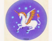 Vintage 80s Sky Ent Glossy Flying Unicorn Sticker Mod