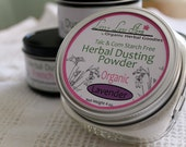Organic Lavender Herbal Dusting Powder in 4 ounce reusable glass jar with cotton dusting puff