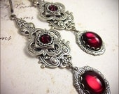 Medieval, Renaissance, Tudor, Red, Garnet, Medieval Jewelry, Queen, Wedding, Bridesmaid Earrings, SCA, Your Choice of Color & Finish