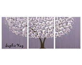 Personalized Nursery Canvas Wall Art for Baby Girl - Purple Tree Painting Canvas Triptych - Large 50x20 - MADE TO ORDER