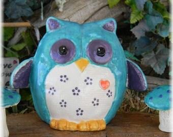 Modern Glazed Owl - Ceramic shabby decor Turquoise purple Felty owl fabric like