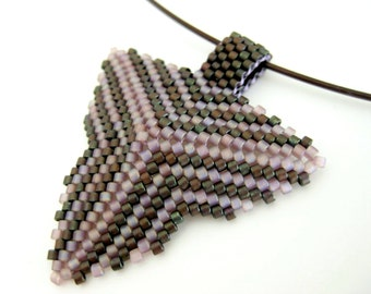 Peyote Pendant / Peyoye Triangle Pendant  / Beaded Pendant in Lavender and Copper  /  Seed Bead Pendant / Peyote Necklace / Beaded Choker