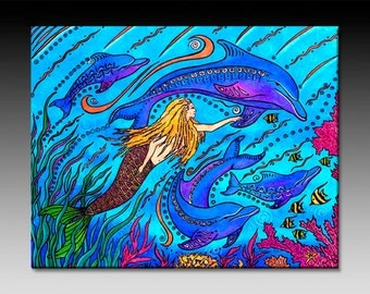 Swimming with Dolphins Ceramic Tile Wall Art