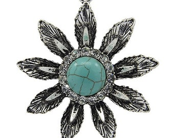 Flower Rhinestone Pendant with Howlite - Sold Individually - #PND162