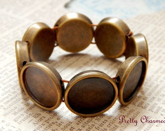 3 Bronze Adjustable Stretch Bracelet with Round Bezels for Photo Jewelry with Matching Glass Cabochons 20mm