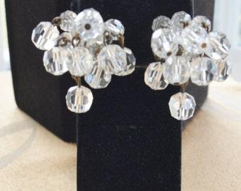 Pretty Vintage Crystal Waterfall Clip Earrings