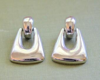 Vintage Earrings MONET Signed Silver Tone Pierced Door knocker style