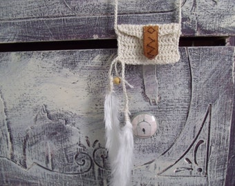 Coin Bag Totem Necklace with Feathers Purse