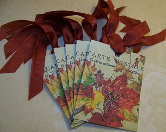 Autumn Tags Thanksgiving Tags Autumn Leaf Tags - Set of 6