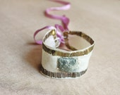 misty days- silk wrist cuff bracelet in silver wire embroidery and raw  pyrite nugget- fairytale  mountain wedding art to wear
