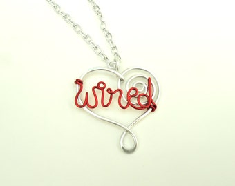 WIRED - Heart Necklace - Anodized Aluminum wire work - Hypoallergenic!