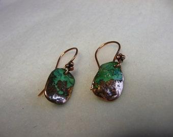 SALE  Copper Verdigris Patina Dainty Wire Earrings