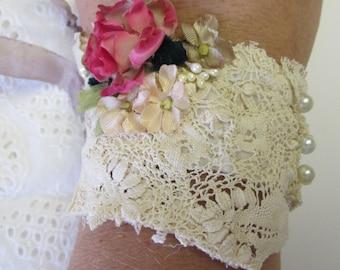 Boho Chic Lace Cuff, Vintage Lace Cuff, Bridal Lace Cuff, Vintage Silk Cuff,  Vintage Bridal Lace Cuff