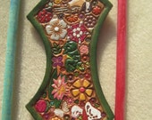 Green Border Leather Hair Barrette with Colorful Flowers Frog Butterfly  Ladybug Bird Two Sticks